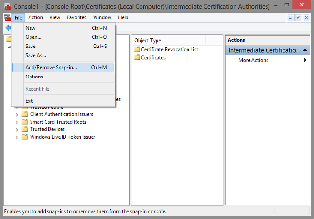 IIS - Install root and intermediate certificates