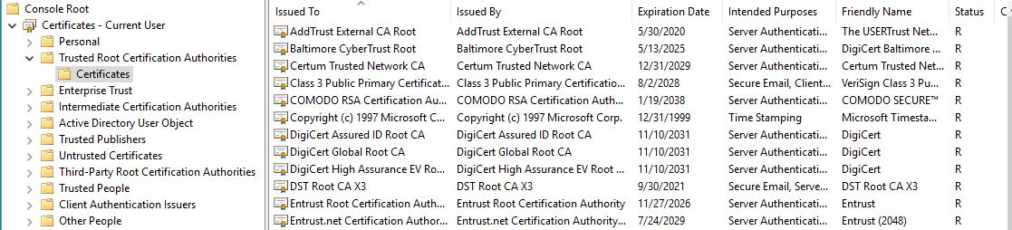 root certificate certificates