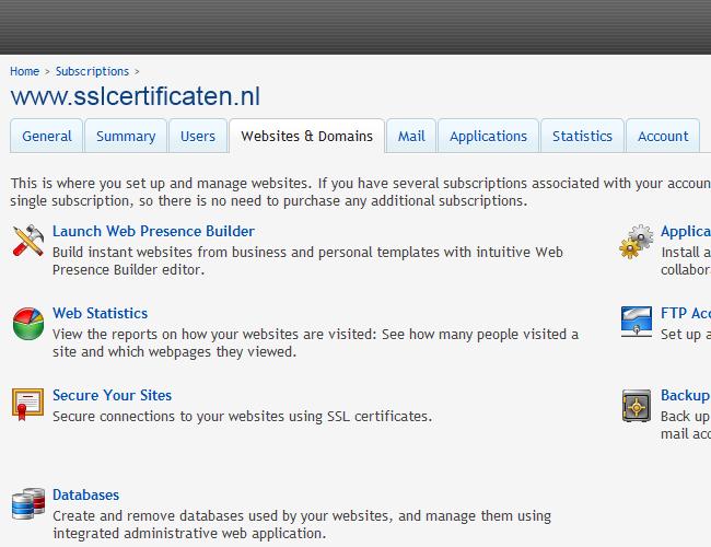 Plesk 11 Certificate Installation